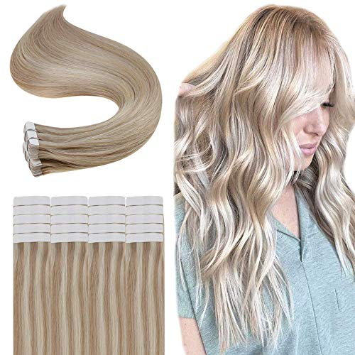 Full Shine Tape in 100% Remy Human Hair Piano Color #18/613 Caramel Blonde & Bleach Blonde 20 Stuck 40g Per Set HaarVerlängerung Fashion Tape in Hair Extensions