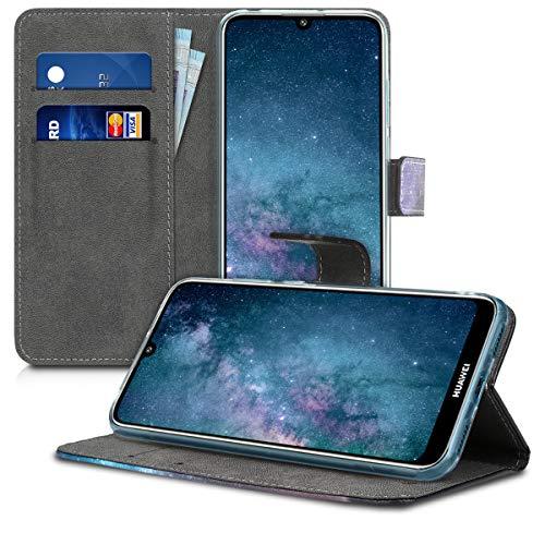 kwmobile Huawei Y6 (2019) Hülle - Kunstleder Wallet Case für Huawei Y6 (2019) mit Kartenfächern und Stand - Galaxie Baum Wiese Design Blau Grau Schwarz - 4