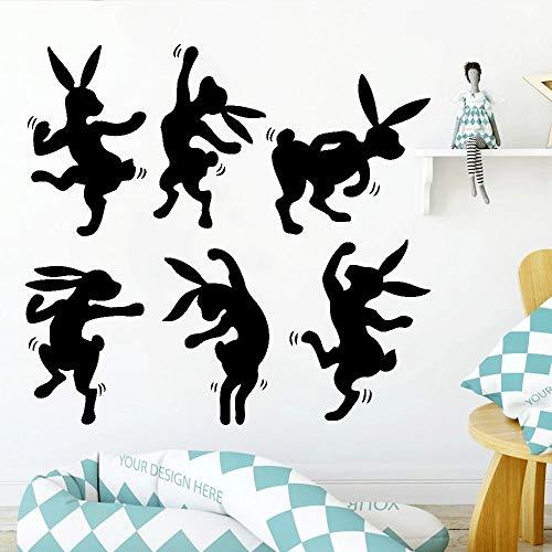 HGFDHG Adhesivo decorativo para pared con diseño de conejito de animales, estilo fresco, decoración de la familia, habitación de los niños, jardín de infancia