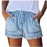SPE969 Denim Shorts Women's Loose Fringe Bandage Short Jeans Tassel Elastic Waist Bottom Pants,Light Blue,M