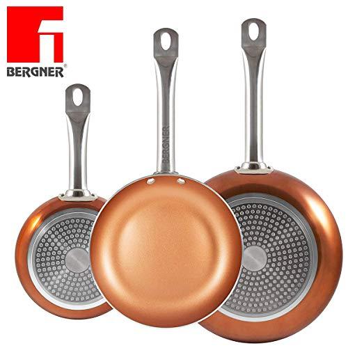 ¡Los originales Chef Copper Plus! Juego de 3 sartenes con revestimiento de cobre ultra resistente – 100% libre de PFOA – 20/24/28 cm – También aptas para horno, cocina de gas e inducción – 1165