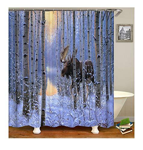 Aeici Badvorhang Rotwild Im Tiefen Schnee Im Winterschnee Badezimmer Vorhänge Polyester Bad Vorhang Duschvorhang Bunt 165X180Cm