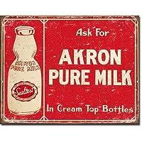 ブリキ看板 Akron Pure Milk (1841) ティンサインプレート ティンサインボード アメリカ雑貨 アメリカン雑貨