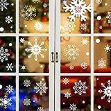 Tuopuda 216 pcs Copo de Nieve Estática Pegatina Navidad Pegatinas de Copo de Nieve Fabuloso Pegatinas Pared Estáticas de PVC para Navidad Decoraciones (Blanco)