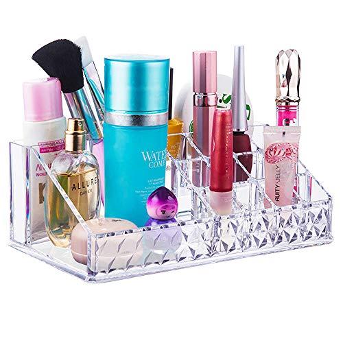 Uponer Kosmetik Organizer Rautenmuster 16 Fächern Lippenstift Kosmetik Halter Make up Organizer Klar Aufbewahrungsbox aus Acryl