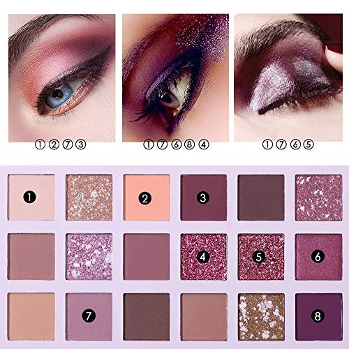 UCANBE palette de fards à paupières Nude 18 couleurs Matte Shimmer Glitter Multi-Reflective Shades Teint Ultra Pigmenté Maquillage Ombre à Paupières