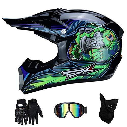 MCRUI Motocross Helme Downhill Helme Motorrad Crosshelme & Endurohelme Jugend Kinder Offroad Helm Motocross Gear Combo Mask Brillenhandschuhe,F,M