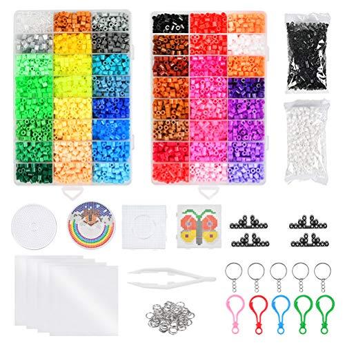WOWOSS 12800 Cuentas y Abalorios 5 mm 48 Colores para Actividades Creativas y Manualidades Infantiles, Kit de Cuentas y Surtidos como Juguete o Regalo para Fiesta Cumpleaños Niños