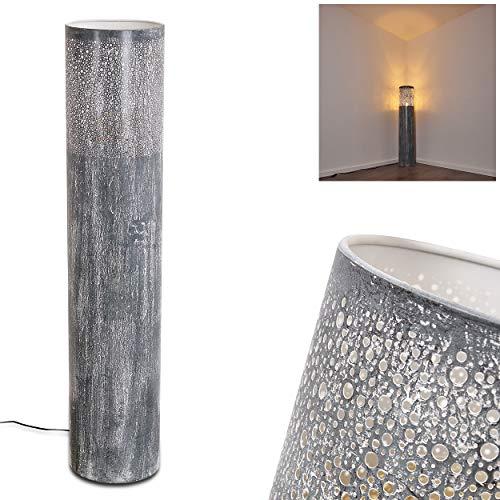 Stehlampe Indijk (groß), Vintage Stehleuchte aus Metall in Grau/Blau, 1-flammig, 1 x E27-Fassung, max. 40 Watt, Leuchte im Retro/Vintage-Design m. Lichteffekt u. Fußschalter am Kabel, LED geeignet