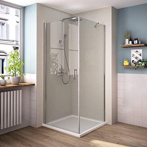 Bath-mann Duschkabine 90 x 90 x 195 cm Duschabtrennung Duschtür Schwingtür Pendeltür mit Seitenwand mit Beidseitiger Nano Beschichtung 6mm ESG Glas