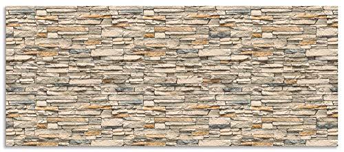 Artland Spritzschutz Küche aus Alu für Herd Spüle 120x50 cm Küchenrückwand mit Motiv Steinwand Landhaus Steinoptik Mauer Stein Beige R2QS
