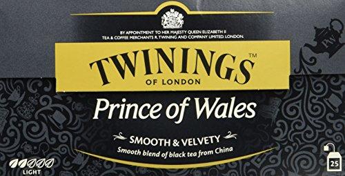 Twinings Prince of Wales Sanfter Schwarztee 50g, 25 Beutel, Der Tee entfaltet den fruchtigen Geschmack des Keemum-Tees und einen Hauch des blumigen Oolong-Tees. Black Tea 2er Pack (2 x 50 g)