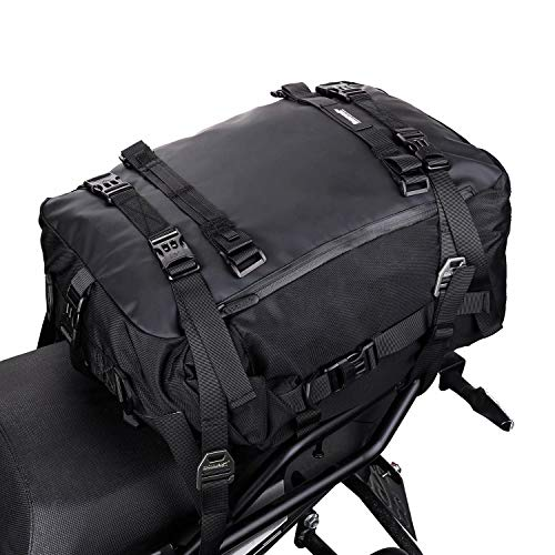 Rhinowalk Motor Pannier Bag 10/20/30L Multifunctional Waterproof Rear Rack Trunk Motorcycle Seat Bag (Black-30L)