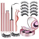6 Pairs Magnetic Eyelashes with Eyeliner, 3D 5D Magnetic Lashes False Eyelashes Pack With Tweezers are Firm and Easy to Stick Natural Look Lashes for Women- No Glue Needed