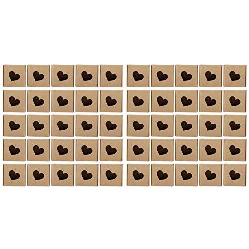 HERCHR 50 Uds Cajas de jabón de Papel Kraft, Cajas de Regalo con Forma de corazón Hueco para Boda, Fiesta de cumpleaños, Caramelo, Chocolate, Embalaje de joyería