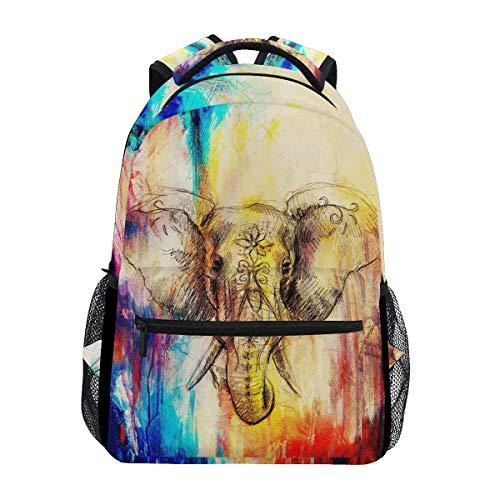 MAHU Backpack Art Painting Animal Elephant Adults School Bag Casual College Bag Travel Zipper Bookbag Hiking Shoulder Daypack for Women Men