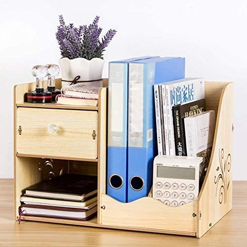 Skrivbordshyllor skrivbord bokhylla bänkskiva kontorsmaterial trä skrivbordsorganiserare tillbehör visningsställ med låda gör-det-själv pennhållare låda skrivbordsförvaring organisering (färg: A)-B