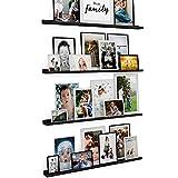 Wallniture Denver 46' Wall Shelves for Picture Frames, Floating Shelves for Wall, Picture Ledge Shelf, Set of 4, Black