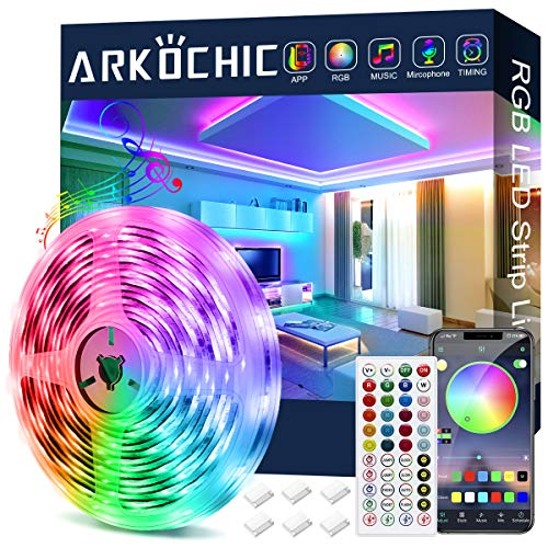 12M LED Strip Lights, ARKOCHIC Bluetooth App and Remote Control Led Light Strip, Music Sync Color Changing SMD 5050 RGB Led Lights for TV, Bedroom, Party and Home Decoration