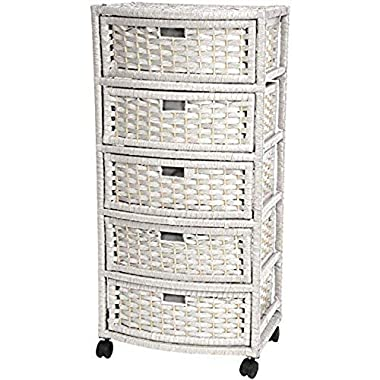 Oriental Furniture 37″ Natural Fiber Chest of Drawers – White