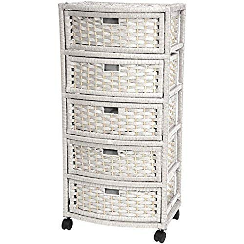 Oriental Furniture 37' Natural Fiber Chest of Drawers - White