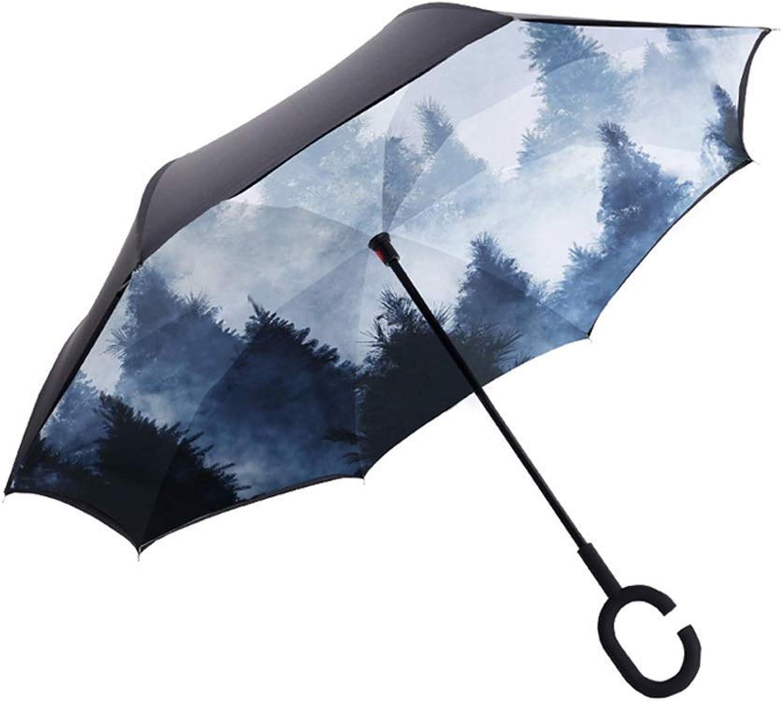 POLBB Ingreened Umbrella, Reverse Windproof Umbrella Adult Men Women Long Handle Outdoor Sunscreen Weatherproof Umbrella Dualuse Umbrella Multistyle Optional (Design   D)