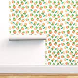 Spoonflower Peel and Stick Removable Wallpaper, Watercolor Peaches Fruit Food Print, Self-Adhesive Wallpaper 12in x 24in Test Swatch