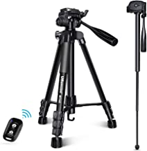 UBeesize 60-inch Camera Tripod, MT60 Aluminum Monopod Tripod Combo, Lightweight Professional Travel Video Camera Stand with Carry Bag for DSLR, SLR, Cell Phone