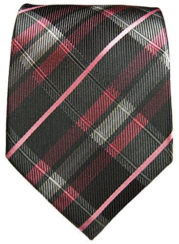 Cravate homme noir rose tartan ensemble de cravate 3 Pièces (longueur 165cm)