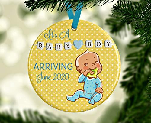 Lplpol Esperando ornamento bebé anuncio adorno árbol de Navidad Decoración Es un niño adorno divertido bebé anuncio idea género revelar recuerdo