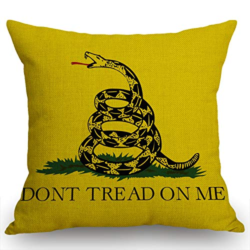 Swono Dont Tread On Me Flag Yellow Throw Pillow Case Cushion Cover Cotton Linen 18x18 Inches for Sofa Couch
