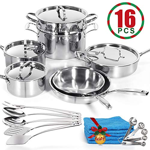 Stainless Steel Non-Stick Cookware Set of 16 Piece Triply 3 Layers Pots and Pans Clad Kitchenware Sets with Utensils and Anti-Slip Handle