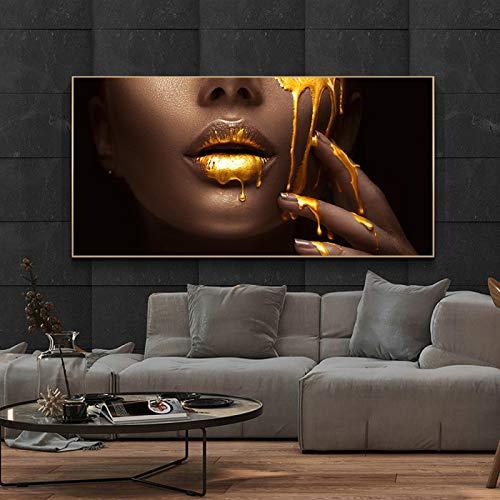 """HONGC Drucke auf Leinwand Golden Sexy Lips Moderne Kunst Poster und Drucke Afrikanische Frau Kunst Gemälde Wand Schwarze Frau Leinwand Bilder 60x120cm / 23,6\""""x47,2 Kein Rahmen"""