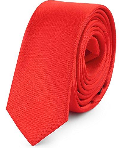 Ladeheid Corbatas Estrechas Diversidad de Colores Accesorios Ropa Hombre SP-5 (150cm x 5cm, Rojo)