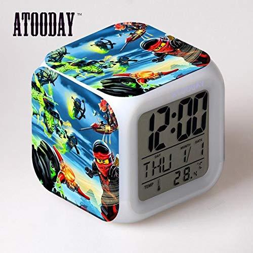 shiyueNB Ninjago Wecker LEDLicht 7 Farbwechsel LCDDisplay Uhr Projektionsuhr Square Digital Dashboard Vintage Tag