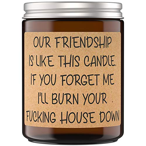 Soy Wax Candle Gifts for Women - Funny Candles for Best Friend Gifts - Unique Gift and Quote Our Friendship is Like This Candle - Lavender Fragrance - 9 oz