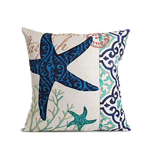 Arundeal 18 x 18 Inches Vintage Ocean Theme Starfish Decorative Throw Pillow Case Cushion Cover