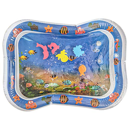 Inflatable Tummy Time Water Mat by Ace Merchant – Water Mat for Babies Infants and Newborns – Activity Center Baby Playing Mat for 3 to 24 Months Boys and Girls