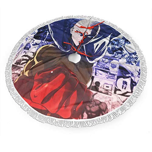 Jywdx Anime ONE Punch Man Saitama Christmas Tree Skirt - High-End Soft Classic Christmas Tree Decoration Merry Christmas Party New Year Party Holiday Indoor Outdoor Ornament