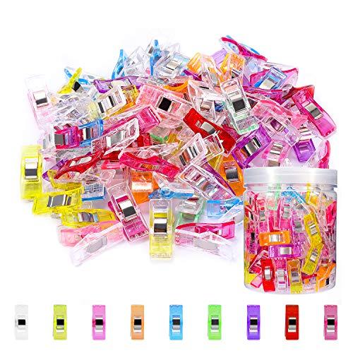WisFox Clips de costura, 100pcs Craft Clips Craft accesorios Paquete de clips multiuso de variados colores, accesorio de costura, manualidades y tejidos, varios colores,Sewing Clips Wonder clips
