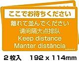 ハイパーマーキング レジ前コロナ対策 床サイン Sサイズ オレンジ 「離れて並んでください」(お試しセット(2枚)) 11250