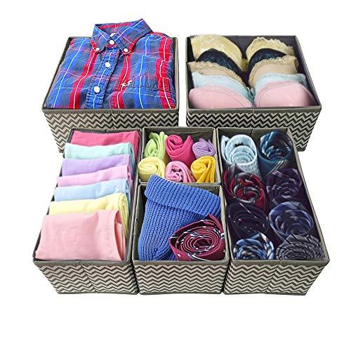 Afufu Opbergdoos, 6 stuks, voor kast of lade, opvouwbaar, ondergoed, sokken, organizer, opbergdoos, vouwdoos, stof voor schuifladen, opbergsysteem
