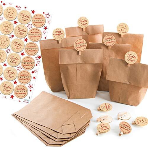 Logbuch-Verlag 24 Papiertüten 14 x 22 x 5,6 + 24 Holzklammern + 24 Weihnachtsaufkleber FROHE WEIHNACHTEN Geschenkverpackung Weihnachtsgeschenk