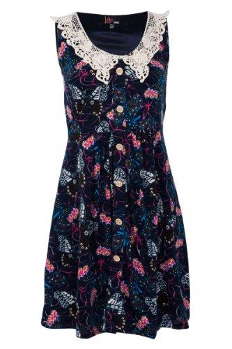 YUMI original Kleid Sommerkleid K-1796 dunkelblau Stickerei Knöpfe NEU