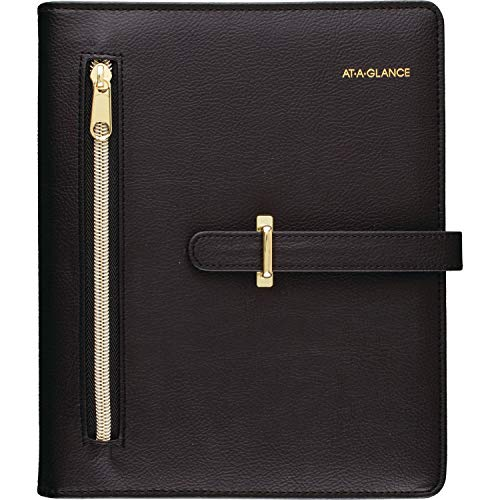 AT-A-GLANCE Faux Leather Undated Starter Set, 7-Ring, 5-1/2' x 8-1/2', Desk Size, Fashion, Black (DR1118-040-05)