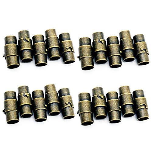 Aweisile 20 Stücke Leder Schnur Ende Kappe Magnet Halsketten Kettenverschluss Magnetverschluss Magnetverschluss mit Sperren Mechanismus Leder Seil Armband Schnalle für armband verschluss (3mm)