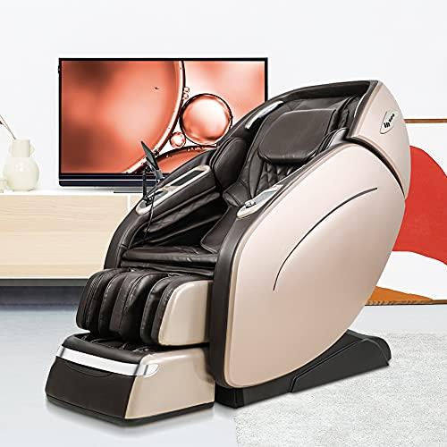 Sillón de masaje, sistema de masaje con airbag, programa de masaje automático de 6 velocidades, hipertermia de espalda, masajeador 3D de gravedad cero, reproductor de música Bluetooth(Golden)