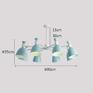 E27 8 Light Source, Size D90 H35cm Simple Nordic Olive Green Warm Light Wood Chandelier, Living Room/Bedroom Art Ceiling Light, Decorative Lights