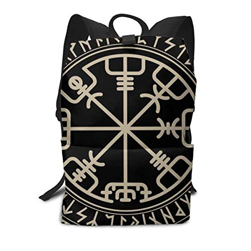 GFHDG Lightweight Polyester Rucksacks Viking Design. Magical Runic Compass Vegvisir, in The Circle of Norse RunesCamping Outdoor Backpack