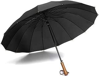 AUWANGAOFEI 16 Bone Wooden Handle Straight Umbrella Automatic Increase Windproof Umbrella Men's Business (Color : Black)